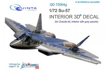3D Декаль интерьера кабины Су-57 серые панели (Звезда 7319) (1/72)