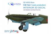 3D Декаль интерьера кабины Як-1 ранние серии (осн. элементы) (Моделсвит/ЮФ) (1/48)