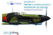 3D Декаль интерьера кабины Як-1 средние серии (расширен. набор) (Моделсвит/ЮФ) (1/48)