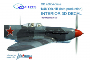 1/48 3D Декаль интерьера кабины Як-1Б (осн. элементы) (Моделсвит)