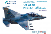 1/48 3D Декаль интерьера кабины Як-130, расширен. набор (Звезда)