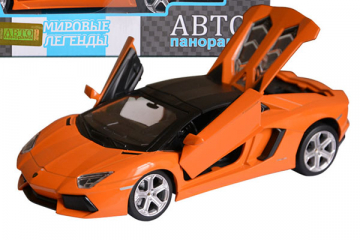 Lamborghini Aventador Roadster, оранжевый (свет, звук, инерция) (1/24)