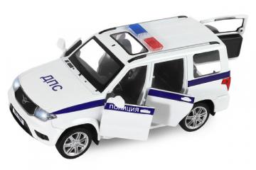 УАЗ Patriot Полиция (свет, звук), белый/синий металлик (1/26)
