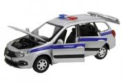 LADA Granta Cross Полиция (свет, звук), серебристый/синий (1/24)