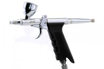Аэрограф JAS 1146 (сопло конусное 0,3-0,5-0,8), 3 емкости металл 2-5-13 мл, шланг, пистолетного типа