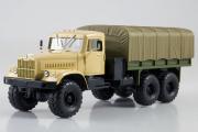 КрАЗ-255Б1 бортовойс тентом, бежевый/хаки (1/43)