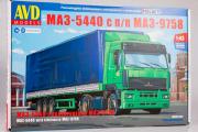 Сборная модель МАЗ-5440 тягач с полуприцепом МАЗ-9758 (1/43)