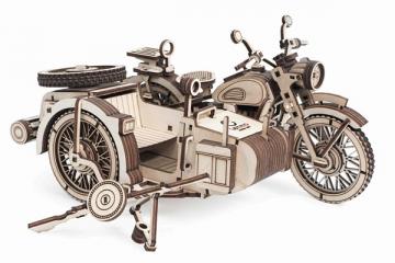 Конструктор 'Мотоцикл с коляской Уран' 220х150х120 (288 дет.) Дерево. Клей ПВА. Наждачка